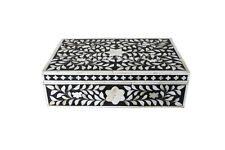 Bone Inlay Decorative Black And White Color Box Hand Flower Design Box