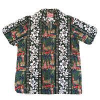 RJC Hawaiian Woodie Surf Boards Tropical Hibiscus Native Aloha Cotton Shirt L
