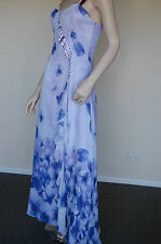 Elegant Floral Printed-Sequined-Evening Dress  -  Brand New WT (Size 10)