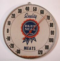 1950's BLUE SEAL Quality MEATS Advertising Thermometer Sign CHICOPEE MASS