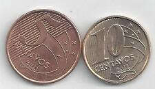 2 DIFFERENT COINS from BRAZIL - 5 & 10 CENTAVOS (BOTH 2011)