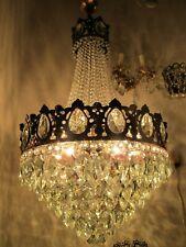 Antique French Chrubs Copper Pltd Massive Brass & Crystal Chandelier 1940's RARE