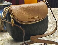 NEW MICHAEL KORS BEDFORD MK SIGNATURE BROWN  LEATHER SMALL FLAP CROSSBODY  BAG