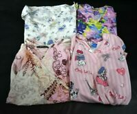 Lot of 4 Ladies Size Medium Hospital Nursing Scrubs Tops Shirts Mixed Bulk Lot