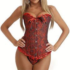 Women's Lace Up Boned Plus Size Overbust Corset Bustier Bodyshaper Top