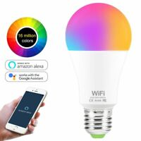 WiFi Smart LED RGB Light Bulb 15W Dimmable Alexa Google Home Control Smartphone