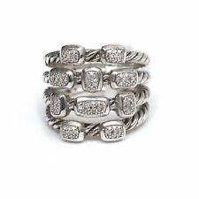 New DAVID YURMAN Wide Confetti Diamond 4 Row Ring in Sterling Silver Size 7