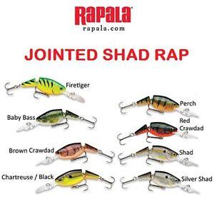 "Rapala Jointed Shad Rap, JSR-04, 1-1/2"" 3/16 oz, Choice of Colors"