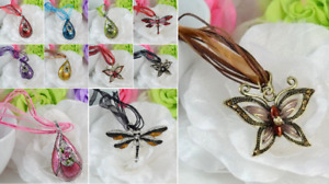 RIBBON AND CORD WITH METAL TEARDROP/DRAGON & BUTTERFLY PENDANT NECKLACE