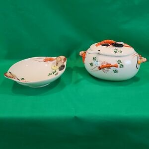 Intrada Italy Hand Painted Lobster Soup Tureen With Ladle & Intrada Seafood Bowl