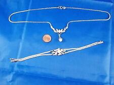 Modernes Schmuckset Halskette & Armband 835 Silber mit Perlen und blauen Steinen