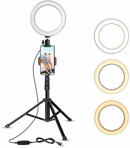 "For Live Stream Makeup 6"" LED Selfie Ring Light & Tripod Stand&Phone Holder"