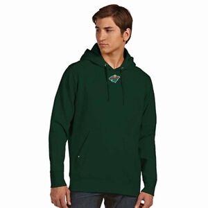 NEW Men's Minnesota Wild Pullover Hooded Sweatshirt by Antigua - Green Large
