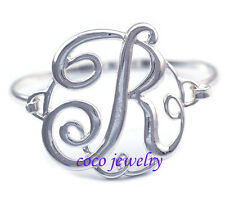 Monogram Style English Alphabet Letter Initial R Bangle Bracelet Women Jewelry