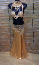 Egyptian Belly Dance Costume bra & Skirt  New Professional Dancing Gold Mustard