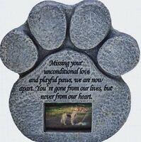 Dog Memorial - Paw Print Pet Memorial Stone - Features a Photo Frame