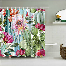 Shower Curtain Art Bath Decor Plants Cactus and Flower Design Curtains 12 Hooks