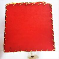 Mid Century Modern Fiberglass Deep Cherry Red Lamp Shade Whipstitching Mod Trim