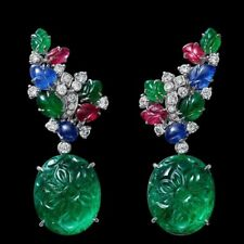 Simulated Carved Green 925 Sterling Silver Tutti Frutti Earring Party Fine Jewel
