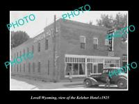 OLD LARGE HISTORIC PHOTO OF LOVELL WYOMING, VIEW OF THE KELEHAR HOTEL c1925