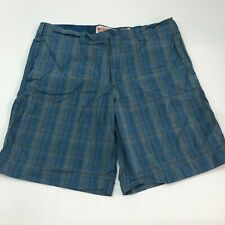 Mossimo Shorts Mens 40 Blue Tan Flat Front Cotton Plaids Slash Pockets Casual