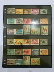 Malaya Singapore QE2 Used Stamp to $5 2 Pages Stock Card Included