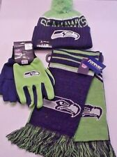 Seattle Seahawks Licensed Authentic Apparel Gift Set Cap  Scarf  Gloves (OFRS)
