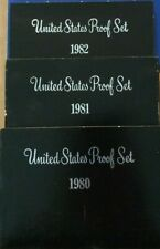 Coins Us Lot of 3 Modern Proof Sets, '80 '81 '82 Us Mint Certified Ungraded