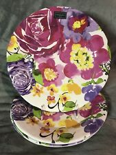 Cynthia Rowley 4 Piece Dinner Plate Watercolor Flower Melamine Set New!