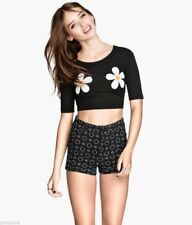 bnwt h&m crop daisy top black medium