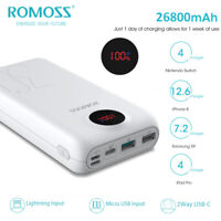 ROMOSS 18W PD QC3.0 Power Bank 26800mAh 2-Way USB-C Fast Charge Portable Charger