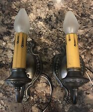 Beautiful BRASS Wall Sconces Antique Wired Pair Electric Candles 2B