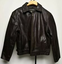 Banana Republic  100% Soft Leather Jacket Mens Medium Brown Full Zip Belts EUC