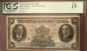 The Royal Bank of Canada 1927 $20 Graded Fine 15 Only 32 of this bill on Registy