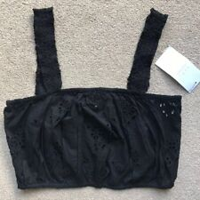 ZARA BRALET size M 10 12 Black FLORAL embroidered BNWT