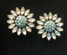 Heidi Daus Ms. Daisy Turq CLIP Earrings Absolutely Darling Pair STATEMENT PC!