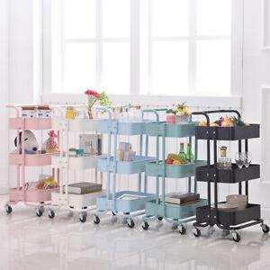 Kitchen Trolley Cart Slim Rolling 3/4Tiers Storage Rack Trolley W/ Wheels&Handle