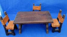 Vintage Miniature Table 3 Chairs Wood Leather Viking Medieval Diorama Display