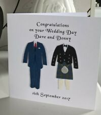 Same Sex Mr & Mr Male Gay Wedding Card Civil Personalised Kilt and Suit Design