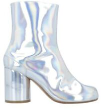 NIB Auth MAISON MARTIN MARGIELA Metallic Rainbow TABI split toe ankle boots 37