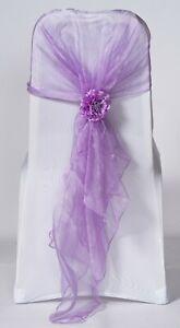 100 Mauve Lavender Organza Chair Cover Hood Wrap Sash Bow Tie