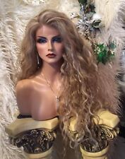 "32"" LONG Brown & Blonde Lace Front ANGELIC Spiral Curl Wig💝"