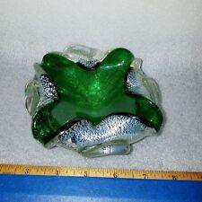 Vintage Murano Italian Glass Emerald Green Silver Foil Bowl Ashtray Mid Century