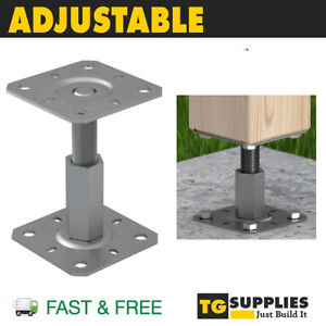 Heavy Duty Galvanised Height Adjustable Elevated Post Base Support Pergola post
