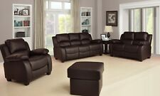 New Valerie Luxury Leather Sofa Suite Black Brown Cream 3+2+1 Three Piece Pouffe