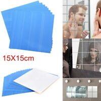 3D Mirror Tiles Mosaic Wall Stickers Self Adhesive Bedroom Art Decal Home