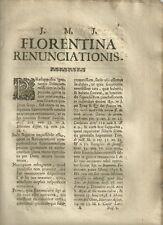 Florentina Renunciationis Rinuncia a Fedecommesso in Firenze 1709