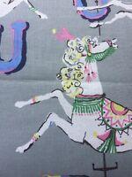 RPE596 Carousel Pony Circus Horses Grey Alphabet Cotton Fabric Quilt Fabric