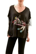 Wildfox Women's Born To Be Bad Fringed Motorcycle Top Charcoal M RRP £85 BCF73