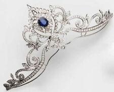 Victoria Look 925 Silver Tiara 8.31cts Rose Cut Diamond Sapphire Antique